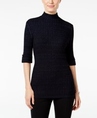 Styleandco. Style Co. Petite Marled Mock Neck Sweater Only At Macy's Industrial Blue