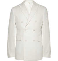 Burberry Off White Double Breasted Linen Blazer