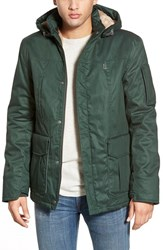 Men's Hoodlamb '4 20' Water Resistant Hemp And Organic Cotton Jacket With Faux Fur Lining Dark Army