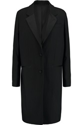 Blk Dnm Satin Trimmed Crepe Coat
