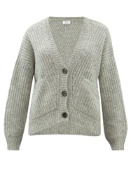Allude V Neck Ribbed Knit Cardigan Grey