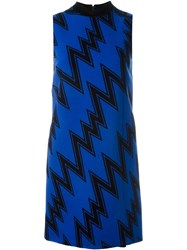 Christopher Kane Zig Zag Print Shift Dress Blue