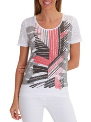 Betty Barclay Graphic Print T Shirt White Red