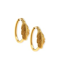 Mimi So 18K Yellow Gold Phoenix Feather Hoop Earrings Gold Red Tan