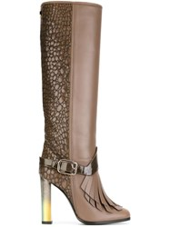 Pollini Fringed Crocodile Effect Knee High Boots Nude And Neutrals