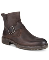 Kenneth Cole Reaction Men's Hyde Away Plain Toe Mix Media Moto Boots Men's Shoes Dark Brown