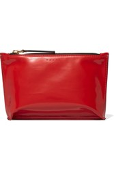 Marni Faux Patent Leather Cosmetics Case Claret