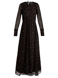 Jupe By Jackie Tom Collins Flower Embroidered Silk Maxi Dress 1061 Black Multi