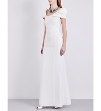 Armani Collezioni Pleated Cap Sleeved Crepe Gown Ivory