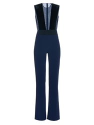 Galvan Plunge Neck Velvet And Crepe Jumpsuit
