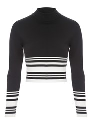 Jane Norman Co Ord Long Sleeve Jumper Style Top Black White