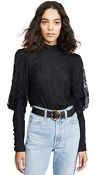 Wayf Mabel Mock Neck Top Black Lace