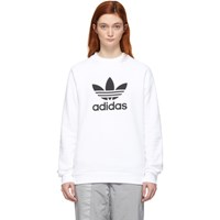 Adidas Originals White Trefoil Warm Up Sweatshirt