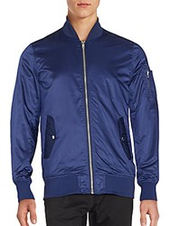 Members Only Solid Zip Up Bomber Jacket China Blue