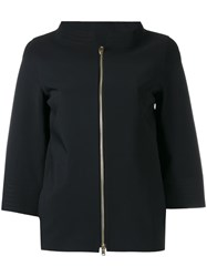 Herno Three Quarters Sleeve Zipped Jacket Black