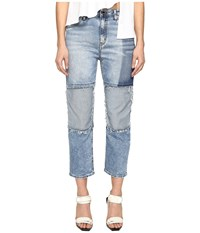 Love Moschino Boyfriend Trousers Blue Women's Casual Pants