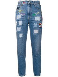 History Repeats Patchwork Skinny Jeans Blue