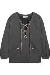The Great Rope Lace Up Stretch Cotton Blend Jersey Sweatshirt Dark Gray