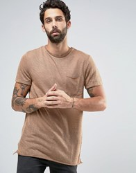New Look Longline T Shirt With Raw Edge In Camel Camel Beige