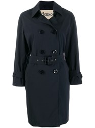 Herno Double Breasted Trench Coat Blue
