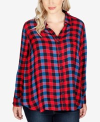 Lucky Brand Trendy Plus Size Plaid Shirt Red Multi