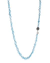 Michael Aram Sterling Silver Blue Topaz Necklace With Black Diamond Botanical Leaf Clasp Blue Silver