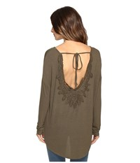 Brigitte Bailey Diara Long Sleeve Top With Open Back Olive Women's Clothing