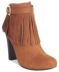 Material Girl Persia Fringe Dress Booties Only At Macy's Women's Shoes Cognac