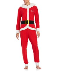 Sleeptease Sherpa Trimmed Santa Claus Coverall Red