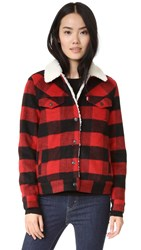 Levi's Wool Boyfriend Sherpa Trucker Jacket Cherry Bomb Plaid