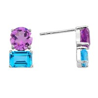 Intua Jewellery Amethyst And Blue Topaz White Gold Earrings Blue Silver Pink