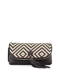 Cole Haan Skylar Leather Weave Clutch Bag Black Tan