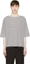 Sasquatchfabrix. White And Black Striped Boatneck T Shirt