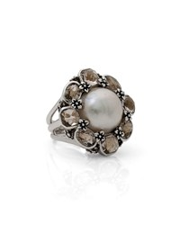 Pearl And Smoky Quartz Floral Ring Stephen Dweck White