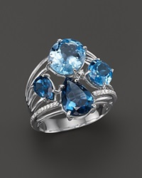 Vianna Brasil 18K White Gold Ring With Swiss Blue Topaz London Blue Topaz And Diamond Accents