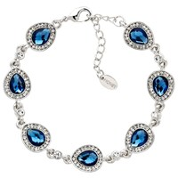 Monet Glass Crystal Teardrop Chain Bracelet Silver Blue