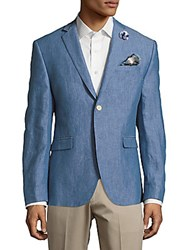 Original Penguin Textured Linen Jacket Blue Solid