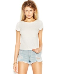 Guess Cap Sleeve Perforated Faux Leather Top White