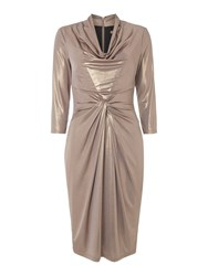 Biba Cowl Neck Long Sleeve Metallic Jersey Dress Gold