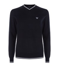 Armani Jeans Striped Trim V Neck Sweater Male Navy
