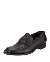 Ermenegildo Zegna New Flex Leather Penny Loafer Black