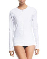 Cover Crewneck Zip Front Long Sleeve Swim Top White