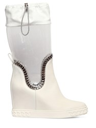 Casadei 80Mm Plexi And Leather Wedge Boots White