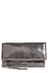 Whiting And Davis Mesh Foldover Crossbody Clutch Metallic Gunmetal