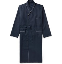 Anderson And Sheppard Piped Linen Robe Blue