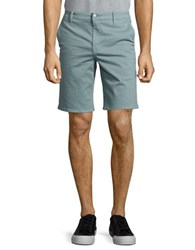 7 For All Mankind Stretch Cotton Flat Front Shorts Blue Stone