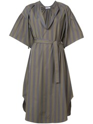 Tome Striped Belted Dress Green