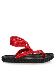Isabel Marant Lesley Ankle Strap Rope Sandals Red