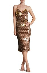 Dress The Population Women's 'Nina' Sequin Midi Slipdress Chocolate Gold