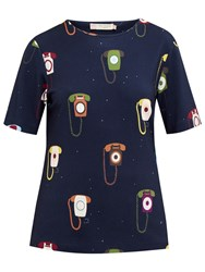Ted Baker Colour By Numbers Koanna Telephone Print Top Dark Blue